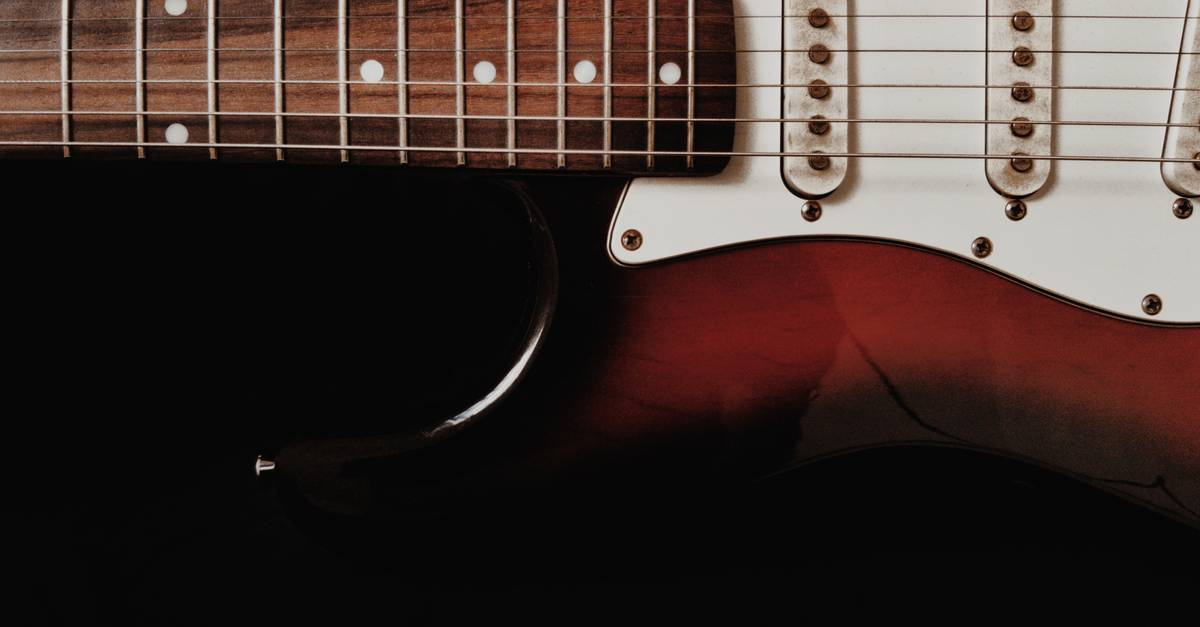 A close up of a guitar