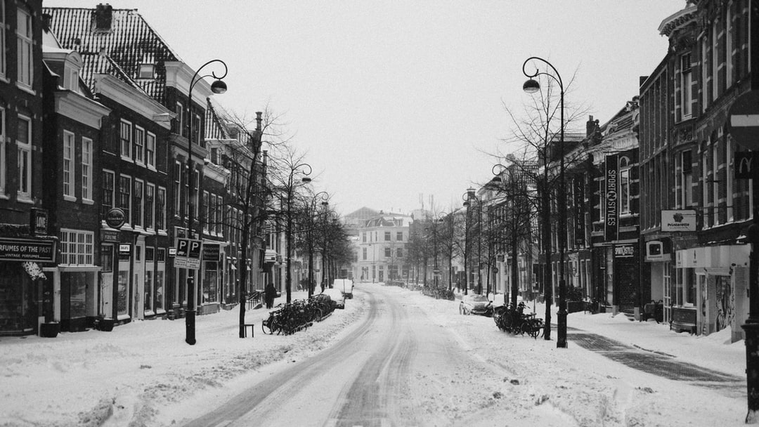 A snow covered city street